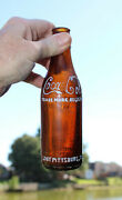 Rare Straight Sided Amber Coca Cola Bottle Sout Pittsburgtenn. Porters- R +