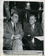1958 Wirephoto Governor-elect Edmund G Brown Calif Chats With Gov Meyner 10x8.25