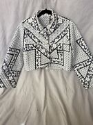 Ganni Womens White Cropped Quilted Cotton Print Jacket Size Xs