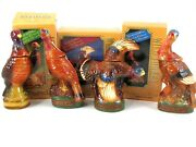 Wild Turkey Mini Decanters Complete Set Of 4 Limited Edition Porcelain 1970's