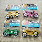 4 Dime Store Toy Plastic Motorcycle Hong Kong Vintage Nos New Speed Cycle Sealed