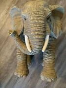 Vintage African Elephant Plant Stand Resin Table Stool Decorative Sculpture