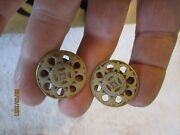 6 Antique Matching Brass Drawer Pulls 2 At 1 And 4 At 3/4