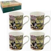 Set Of 4 Collie And Sheep Fine Porcelain Cups In Gift Box