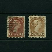 43 Vf Centered, Six Cent X 2, Chocolate, And Brown Small Queen Canada Used