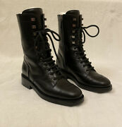 Black 37.5 Leather Classic Ankle Lace Up Combat Boots