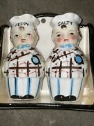Vintage Salty And Peppy Salt And Pepper Shakers W/ Stand Made In Japan