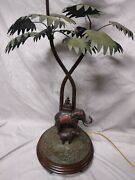 Frederick Cooper Safari Collection Bronze Elephant And Monkey Tall Table Lamp