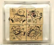 Stampin Up Set Teddy Bear With Drum Flute Fun Hat And Goose Set Of 4