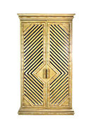 Vintage 1970s Mirrored Faux Bamboo Bar Cabinet Armoire Cupboard W Light And Locks
