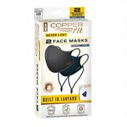 Copper Fit Two 2 Face Masks With Lanyard 1 Blue And 1 Charcoal Never Lost Free Sandh