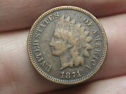 1871 Indian Head Cent Penny- Vg/fine Details Shallow N