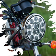 Vawik 7 Led Motorcycle Headlight Chrome W/ Position Lamp 1pce Fits Harley Bmw