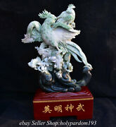 20.4 Chinese Natural Dushan Jade Carving Fengshui Flower Orchid Parrot Statue