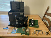 Vintage Singer Feather Weight Sewing Machine 221-1 With Lotandrsquos Of Accessories