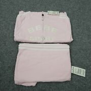 Bebe Sport Womens Track Suit Pink Large Set Pants And Jacket