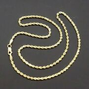 14k Solid Yellow Gold Rope 2mm Necklace