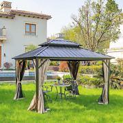 Yitahome 10x12 Ft Double Roof Canopy Gazebo With Netting And Shaded Curtains Ou