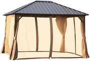 Outsunny 10and039 X 12and039 Outdoor Hardtop Gazebo Steel Roof Patio Gazebo With Aluminum