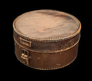 Antique Edwardian Dark Brown Calf Hide Leather Round Collar Jewellery Box 1910and039s