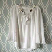T Tahari Antique Ivory Peasant Blouse Bell Sleeve Beaded Neckline Top Size Small