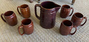 Vintage Marcrest Daisy Dot Brown Oven Proof Stoneware 64 Oz Pitcher And 6 Mugs