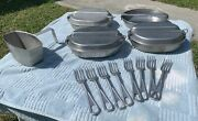 Vintage Lot Of Wwii Vietnam Era Us Military Issue Mess Kit Forks And Canteen Cup