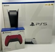 Sony Playstation 5 Console Disc Version Ps5 W/ Extra Cosmic Red Controller - New