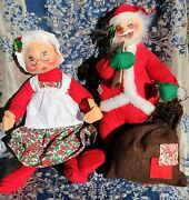 Vintage 1971 Christmas Annalee Mobilitee 15 Santa And Mrs Claus Doll Set
