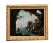19th Century Italian School Oil On Canvas Painting Bathers In A Grotto