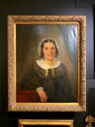 19th Cent. American School Framed Oil On Canvas Large Portrait Painting Of Lady