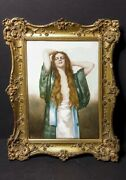 Early 20th Century Austrian Signed Hand Painted Framed Painting Of Young Girl