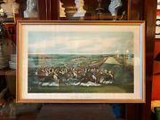 Large 19th Century Hand Colored English Print Of Horse Racing From Christies