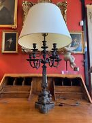 Grand Tour Style Bronze Tall Candelabra Lamp With Lion Base And Custom Silk Shade