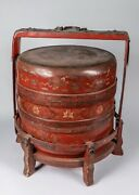 A Large 19th Century Handpainted Chinese Red Lacquer Wood Box