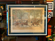 Large Early 19th Century English Print Of Horse Racing Extraordinary Trotting