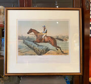 19th Century French Hand Colored Horse Racing Jockey Framed Print