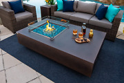 65 Rectangular Concrete Gas Fire Pit Table With Glass Guard And Fire Glass In B