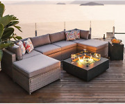 Cosiest 8-piece Fire Pit Table Outdoor Furniture Sofa Gray Wicker Cushion Secti
