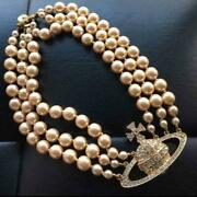 Vintage Vivian Westwood Triple Pearl Choker Necklace Gold Pearl Very Rare
