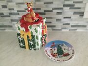 Lenox Collectible 2002 Cookie Jar Andldquorudolph The Red Nose Reindeerandrdquo And Plate