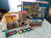 Vintage Fisher Price Little People Parking Garage With Rare Box Clean