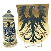 Mettlach 2204 And 2011 Antique 1l German Beer Stein And Imperial Eagle Shield Plaque
