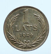 1924 Latvia Lions And Shield Antique Vintage Old Silver European Lats Coin I96449