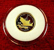 1998 Gold 10 Dollars Titanic 1.224gms .9999 Gold Proof Pure Gold