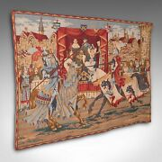 Large Vintage Wall Tapestry, French, Needlepoint, Display Panel, Medieval Taste