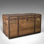Large Antique Steamer Trunk English Pine Travel Shipping Chest Victorian