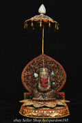 16.8 Old Tibet Natural Crystal Silver Filigree Inlay Gems Elephant God Statue