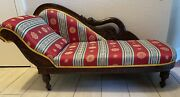 Antique Victorian Swan Carved Childrens Chaise Lounge Fainting Couch