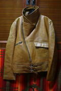 Vintage 1950and039s France Aviator Leather Flight Riders Jacket Goat Skin L Size